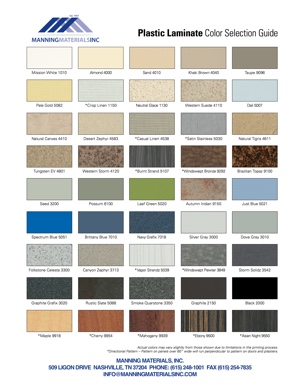 Plastic Laminate Color Chart