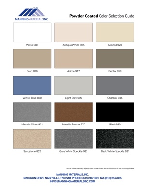 Powder Coated Color Chart