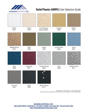 Solid Plastic Color Charts